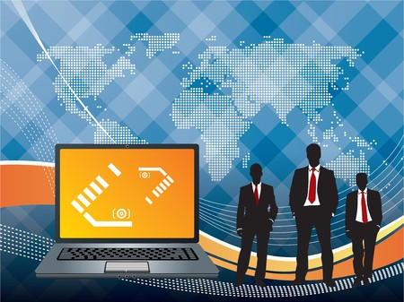 abstract background with business men and laptop Vector