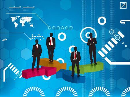 business team blue background Vector