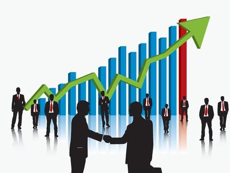 financial leadership: gr�fico de equipo y las finanzas de negocios