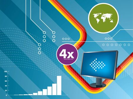 abstract background with arrows moving and lcd monitor Stock Vector - 7877390