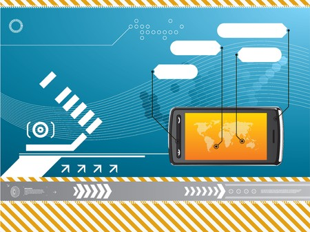 cell phone technology background Stock Vector - 7877337