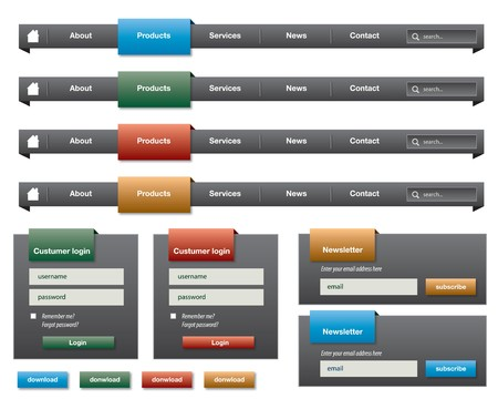 button layout: horizontal menu and elements for website