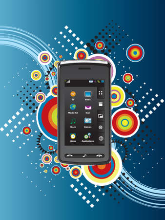 Cell Phone on abstract background photo