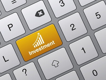 investment concept: concept of success in finance, Investment button on the laptop