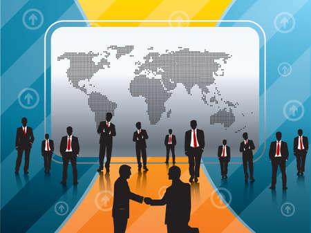 businessmen closing the worldwide agreement Vector