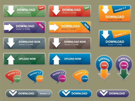 communication box for download and buttons to interface websites Vector