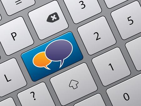 Illustratie van toetsen bord met toegang tot sociale net werken