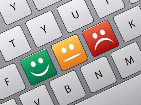 toetsen bord met pictogrammen om te stemmen in on-line enquête Stock Illustratie