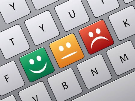 toetsen bord met pictogrammen om te stemmen in on-line enquête