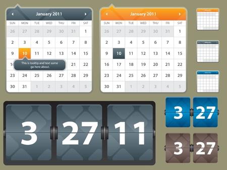 Ilustración del calendario y la tarjeta con la fecha del año para el sitio Web