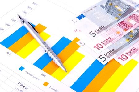 Financiële analyse met grafieken en gegevens van industriële groei. Europese bankbiljetten.