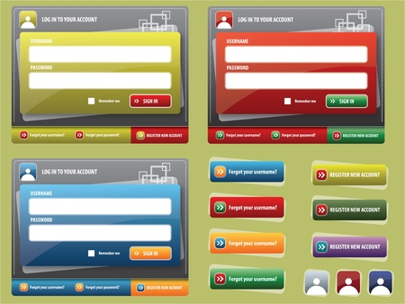 registration: form of entry into the site, colored buttons for web interface Illustration