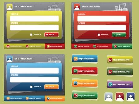 Formulario de entrada en el sitio, botones de colores de la interfaz web Foto de archivo - 9284087