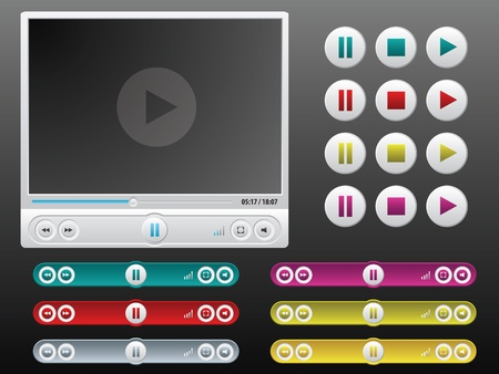 controls: vector media player with extra controls in different colors Illustration