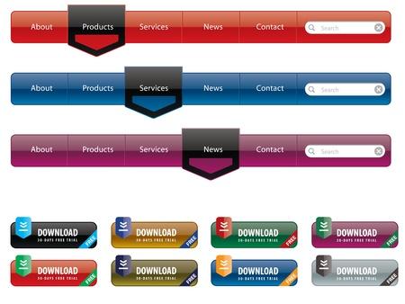 navigatie menu en internet knop ingesteld in verschillende kleuren