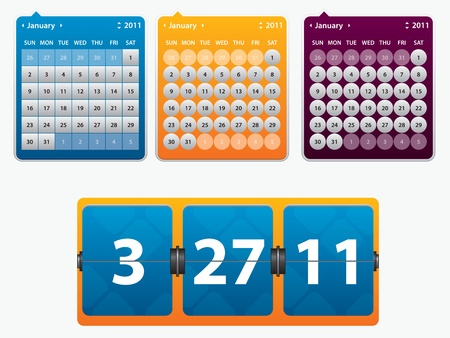 icono de calendario: Ilustraci�n de calendario y tarjeta con fecha del a�o para Web Vectores