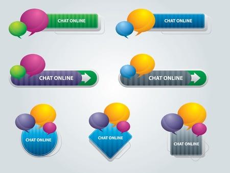 Internet knoppen met chatbox in vector