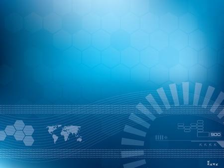 Vector illustratie achtergrond in technologie en kaart van de wereld