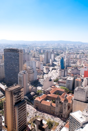 Luchtfoto van Sao Bento klooster in Sao Paulo Stockfoto
