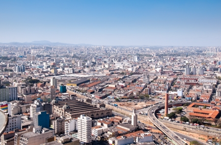 Aerial view of Municipal Market of Sao Paulo Brazil and around the city