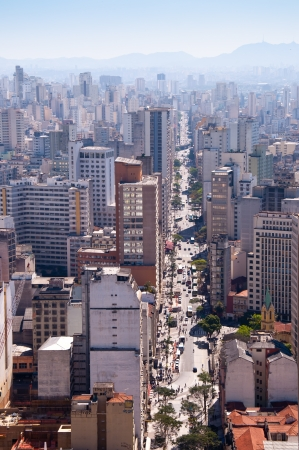 aerial view of city sao paulo and avenue sao joao in center