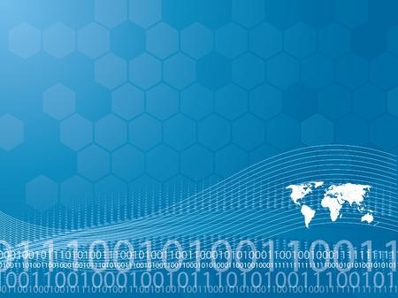 Vector illustration de fond en matière de technologie et de la carte du monde Banque d'images - 11083878