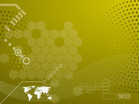 Vector illustration de la technologie et la carte du monde Banque d'images - 11083805