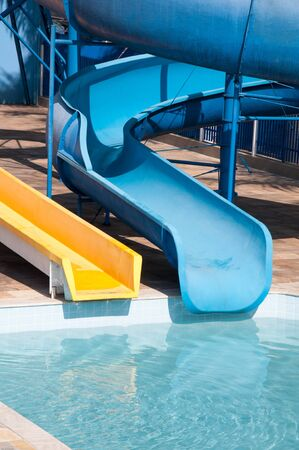 waterslide in waterpark and pool in tropical climate photo