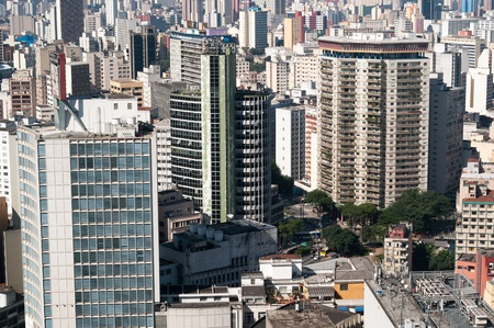 viaducts: Aerial view of buildings in the neighborhood of the beautiful view in the city of Sao Paulo with emphasis on building viaducts on the right side, designed by John Artacho Jurado