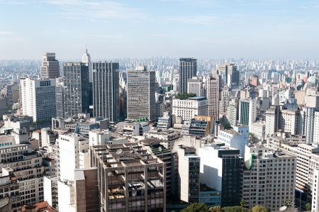 Aerial view of buildings close to the Anhangabaú valley in the city of sao paulo