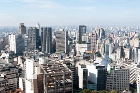 Luchtfoto van de gebouwen dicht bij de Anhangabaú vallei in de stad Sao Paulo Stockfoto - 14460677