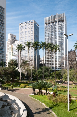 Buildings in the city of sao paulo, near the park Anhangabaú  Stock Photo