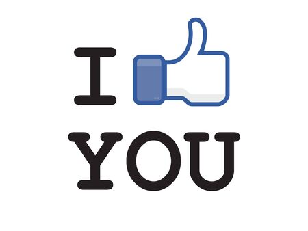 fanpage: the most popular social network button in the world Illustration