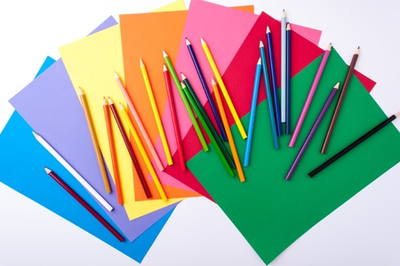 Dibujos coloreados a lápiz y papel a la escuela Foto de archivo - 14577168