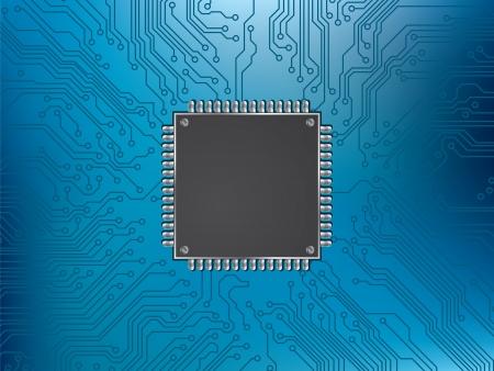 circuito electrico: la placa de circuito y el procesador de chip