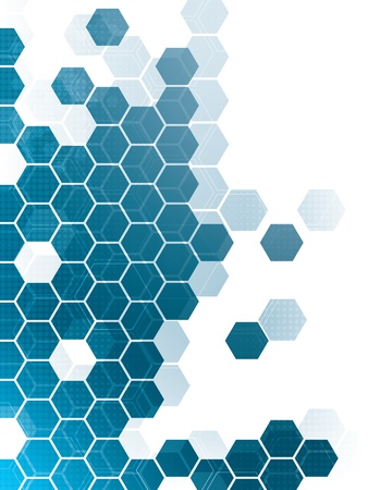 hexagon background: abstract background with blue hexagons and wires Illustration