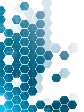 Fondo abstracto con hexágonos azules y cables Foto de archivo - 14841358