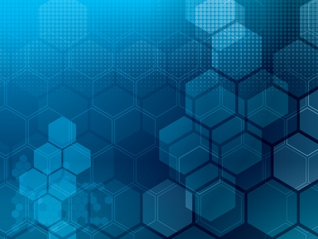 Abstract blue background with hexagons and wires