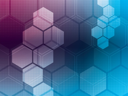computer graphic: abstract background with blue and purple hexagons and wires Illustration