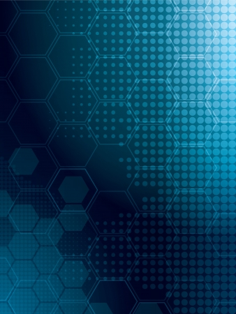 abstract background in blue with rows of hexagonal Vettoriali