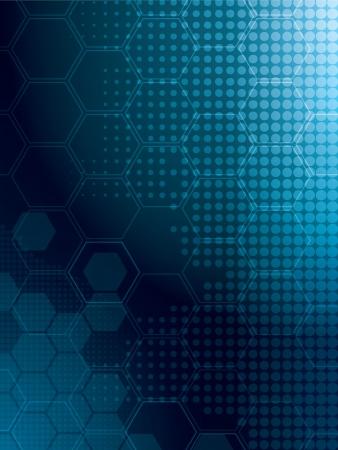 Fondo abstracto en azul con filas de hexagonal Foto de archivo - 14841356