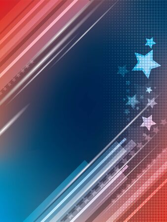winnings: Abstract bright blue and red background with stars Illustration