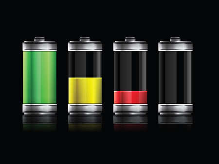 set of batteries with different energy levels Vector