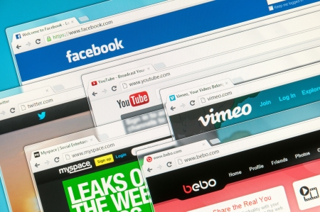 facebook: Social media web sites on computer screen Editorial