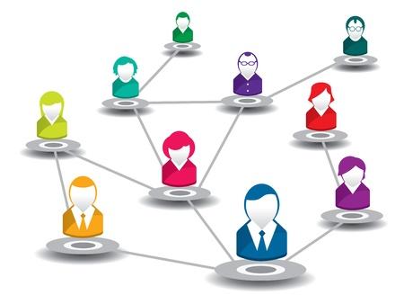 compartiendo: ilustraci�n vectorial de la gente en una red social