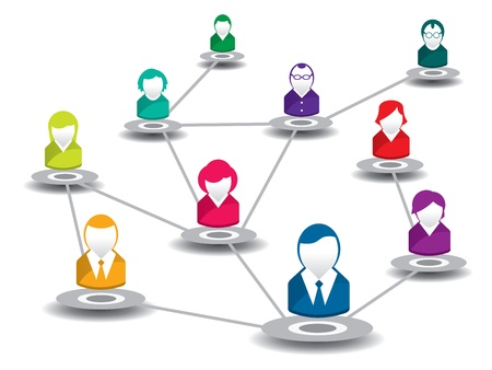 customer relationship:  vector illustration of people in a social network