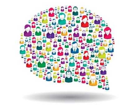 compartiendo: burbuja de comunicaci�n en la ilustraci�n Vectores