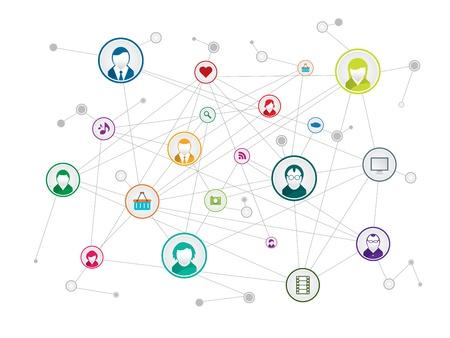 communicatienetwerk in sociale media Stock Illustratie