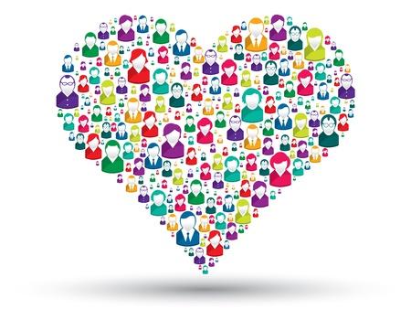 Social amor: Un corazón hecho de los iconos para expresar aman a la gente en las redes sociales Foto de archivo - 16293320
