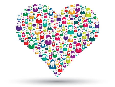 sharing information: Social love: A heart made of icons to express love people in social media Illustration